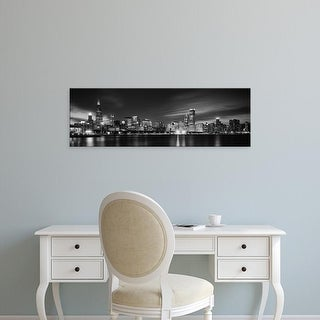 Easy Art Prints Panoramic Image 'Waterfront lit up, Sears Tower, Lake Michigan, Chicago, Illinois' Canvas Art