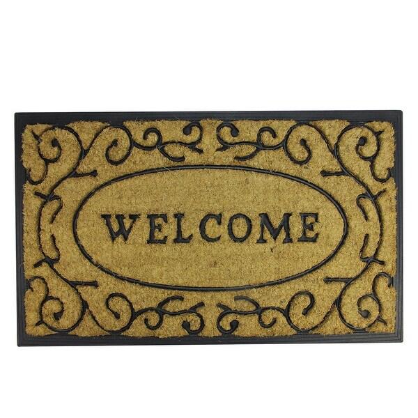 """Decorative """"Welcome"""" Rubber and Coir Outdoor Rectangular Door Mat 29.5"""" x 18"""""""