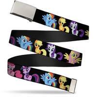 Blank Chrome Buckle Six Ponies Group Black Webbing Web Belt