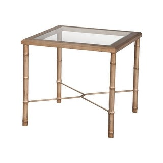 """GuildMaster 715010  22"""" Wide Glass Top Mahogany End Table"""