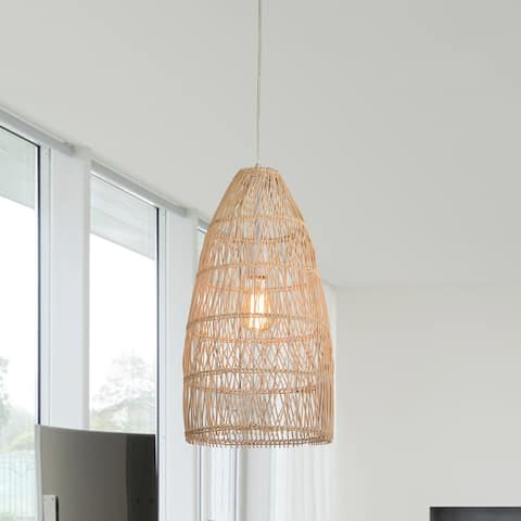 Eren Cream 1-Light Rattan Cage Basket Pendant Light