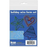 Beadsmith Holiday Ornament Metal Wire Form Kit - Fun Beading Project 3 1/3 x 3 (3 Shapes)