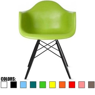 2xhome Green Eames Dining Room Arm Chair With Black Wooden Eiffel Style Legs