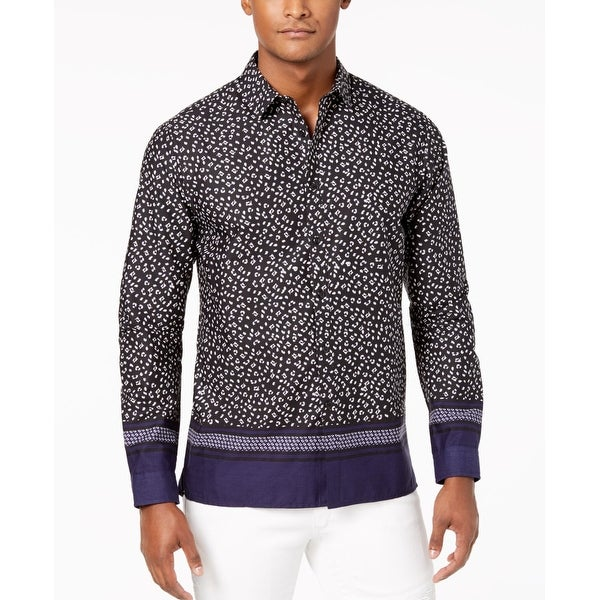 eedd9645c22d Shop INC Blue Black Mens Size Medium M Leopard Print Button Down Shirt -  Free Shipping On Orders Over $45 - Overstock - 28182202