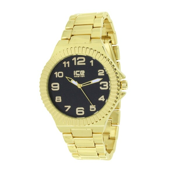 Designer Mens Watch Gold Tone Black Dial Fluted Bezel Stainless Steel Back
