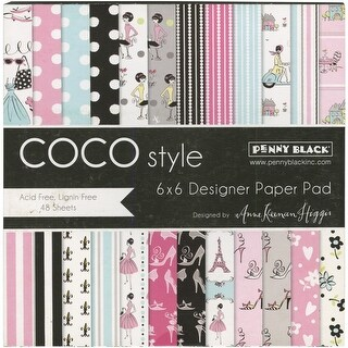 "Penny Black Single-Sided Paper Pad 6""X6"" 48/Pkg-Coco Style"