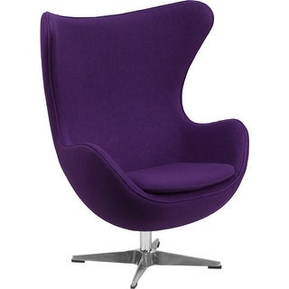 Chancellor Purple Wool Fabric Reception/Guest Egg Chair w/Tilt-Lock, Swivel