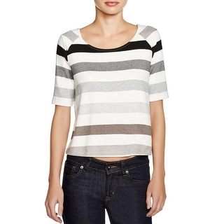 Three Dots Womens Crop Top Knit Striped