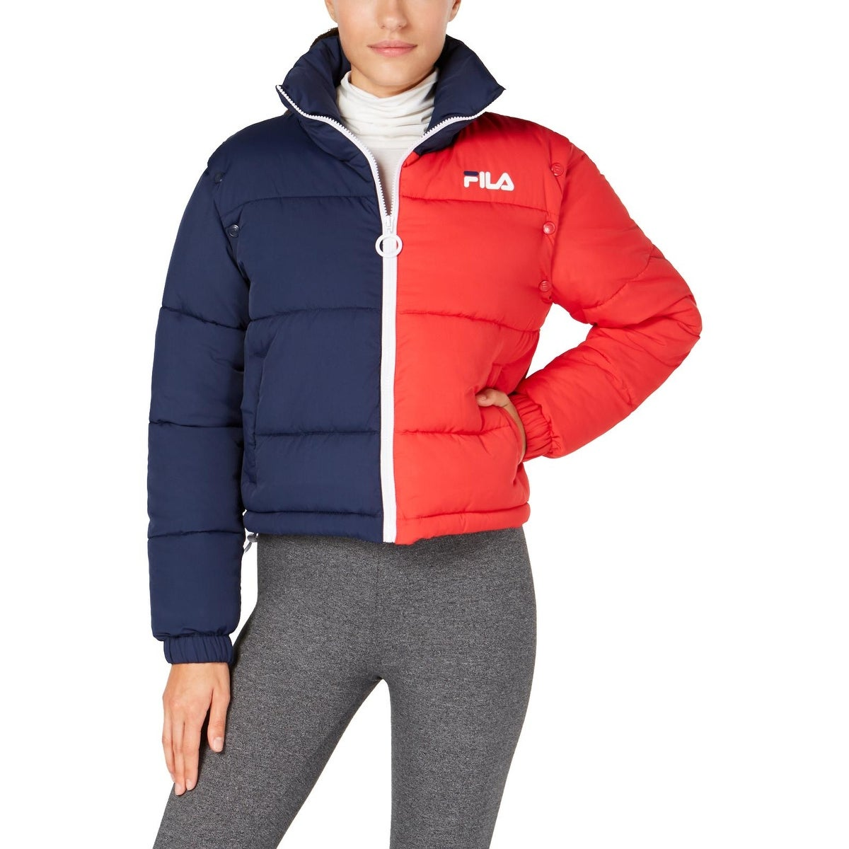 cheaper reasonably priced buy Shop Fila Womens Martina Puffer Coat Insulated Convertible ...
