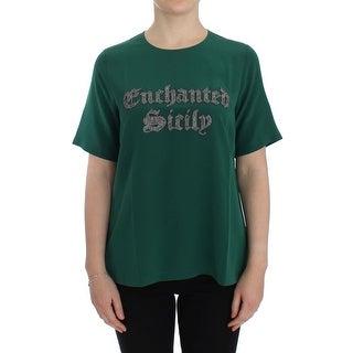 Dolce & Gabbana Dolce & Gabbana Green silk Enchanted Sicily t-shirt - it36-xxs