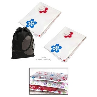 "JAVOedge Flower Pattern 2 Pack Vacuum Sealing Compression Bags for Home / Closet Storage (28"" x 35"" and 47"" x 35"") - White"