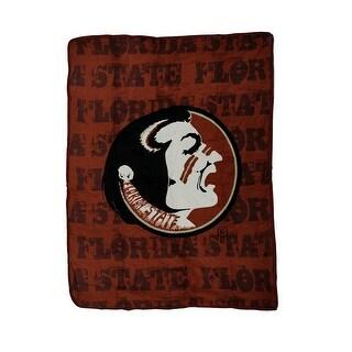 NCAA FSU Seminoles Micro Raschel Plush Throw Blanket 46 x 60 inch - DARK RED