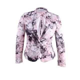 Tahari ASL Women's Petite Floral-Print Scuba Blazer - Pink/Grey