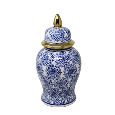 "Sagebrook Home Vc10467-03 14.5"" Temple Jar W/Dalhia Flower,Blue & White Ceramic, 7.5 X 7.5 X 14.5 Inches"