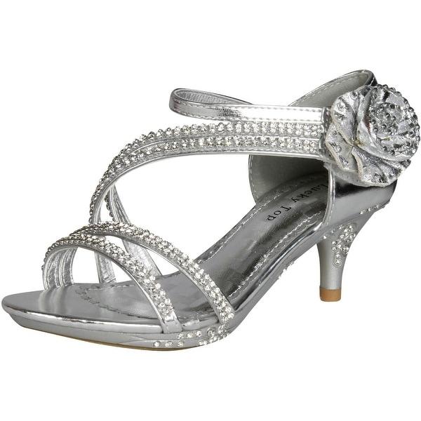 Lucky Top Girls F 32K Little Girls Rhinestone Heel Platform Dress Sandals Silver