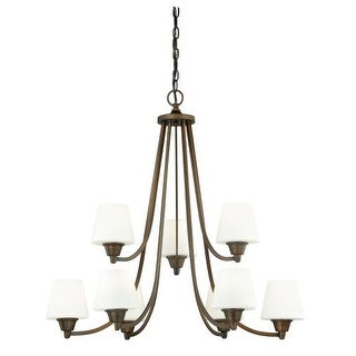 Vaxcel Lighting H0103 Calais 9 Light Two Tier Chandelier with Frosted Glass Shades - 30 Inches Wide