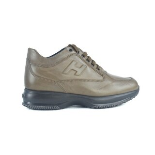 Hogan Mens Tobacco Brown Leather Interactive Sneakers