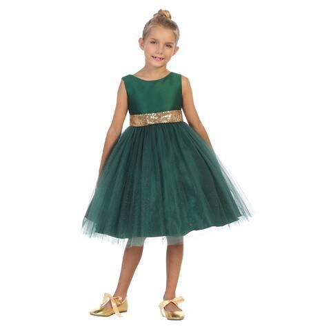 Kids Dream Girls Hunter Green Sequin Glitter Tulle Christmas Dress