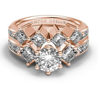 Amcor Design 14KT Gold 3.35 CT Channel Round & Princess Cut Diamond Matching Bridal Set - White H-I