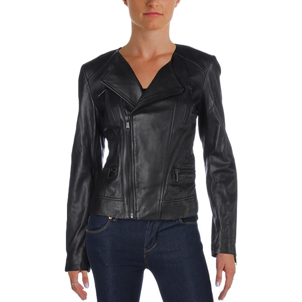 93f4aeee752 Shop Joie Womens Zippora Motorcycle Jacket Leather Asymmetric - Free ...