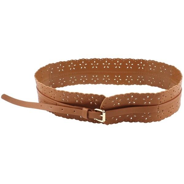 Unique Bargains Women Adjtable Faux Leather Cut Out Flower Design Skirt Waist Belt - Brown