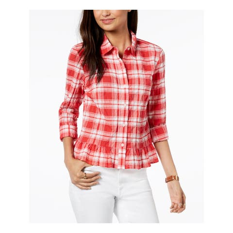 TOMMY HILFIGER Womens Red Plaid Long Sleeve Peplum Top Size L