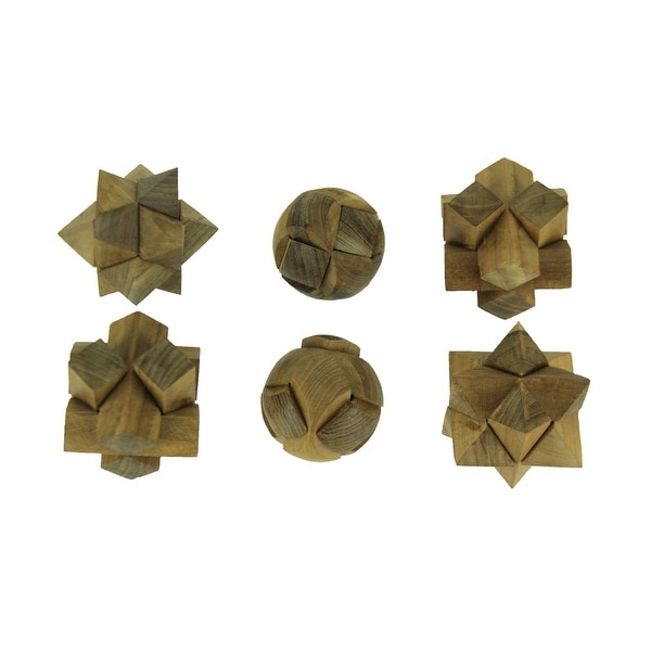 Natural Teak Wood Hand Carved Puzzle Balls Set of 6 - 3 X 3 X 3 inches