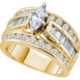 14k Yellow Gold Marquise Natural Diamond Womens EGL Certified Bridal Wedding Engagement Ring 3.00 Cttw - White