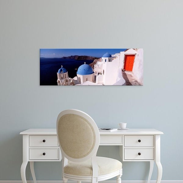 Easy Art Prints Panoramic Images's 'Church in a city, Santorini, Cyclades Islands, Greece' Premium Canvas Art