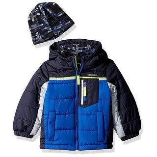 London Fog Boys 2T-4T Puffer Bubble Jacket with Beanie