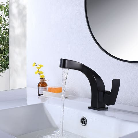 Matte Black Bathroom Faucet Waterfall Vessel Sink Faucet Single Handle