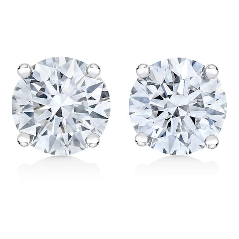 IGI Certified 14K White Gold 1/2 Cttw Lab Grown 4-Prong Round-Cut Diamond Classic Solitaire Stud Earrings (F-G, VS1-VS2)