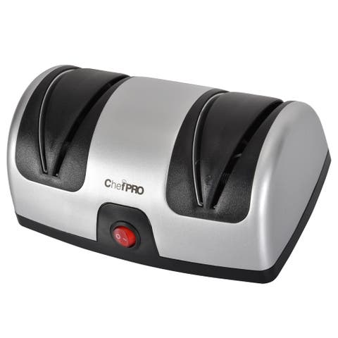 Chef Pro Electric Kitchen Knife Sharpener and Polishing System, Black-Silver