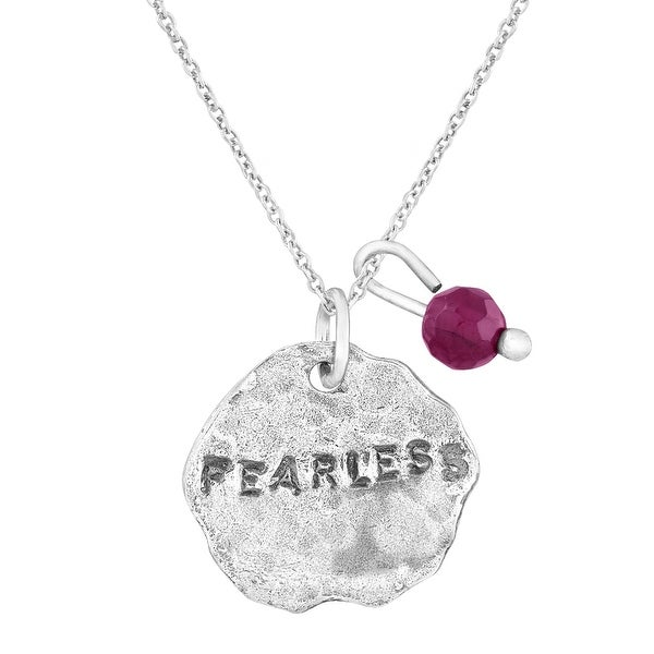 'Fearless' Charm Pendant with Natural Garnet in Sterling Silver - Red