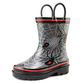 Western Chief Spider Web Crawl Youth Round Toe Synthetic Gray Rain Boot