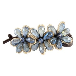 Unique Bargains Blue Crystal Flower Shaped Banana Hair Clip Claw Clasp Pin Barrette Hairpin