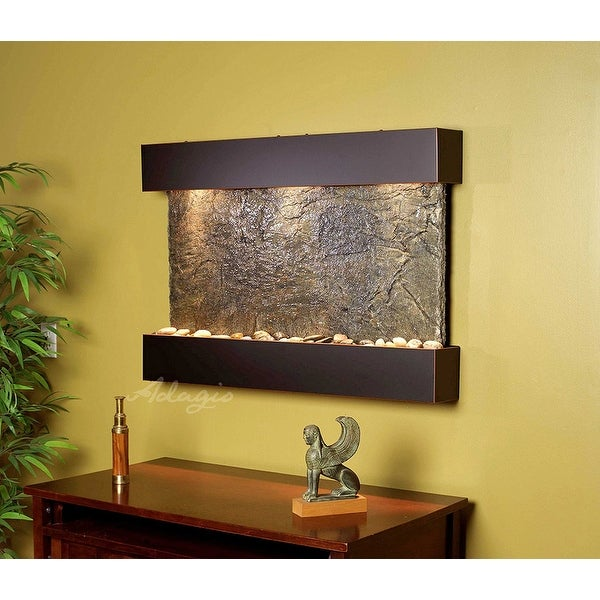 Adagio Reflection Creek With Green Natural Slate in Antique Bronze Finish Founta