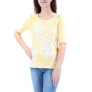 Womens Yellow Printed Short Sleeve Jewel Neck Casual T-Shirt Top Size M