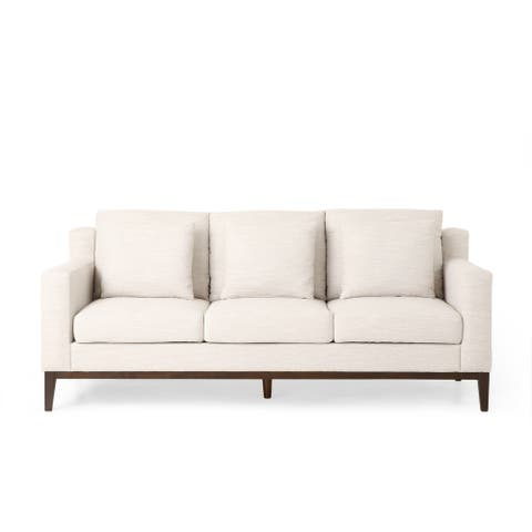 Elliston Contemporary Fabric 3 Seater Sofa with Accent Pillows by Christopher Knight Home