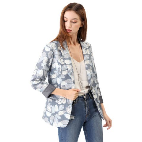 Women's Classic One Button Boyfriend Printed Blazer Jacket - Grey