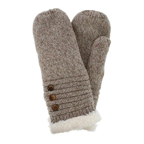 CTM® Women's Knit Mitten with Button Accents