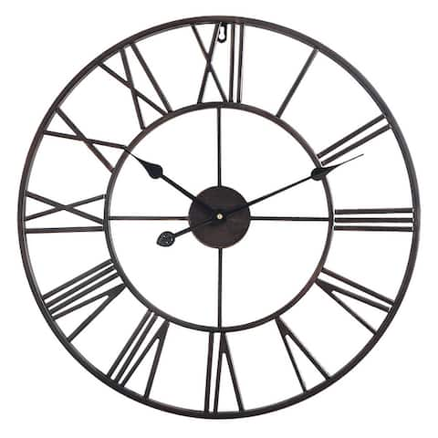 "Utopia Alley Roman Round Wall Clock, 24"" Diameter"