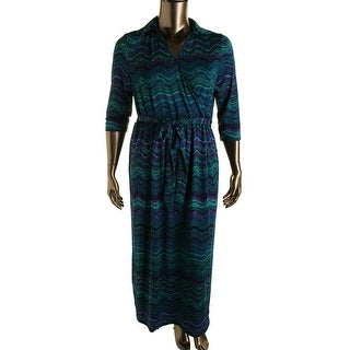 NY Collection Womens Plus Matte Jersey Printed Maxi Dress - 1X