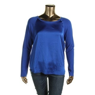 Polo Ralph Lauren Womens Pullover Top Charmeuse-Front Raglan Sleeves