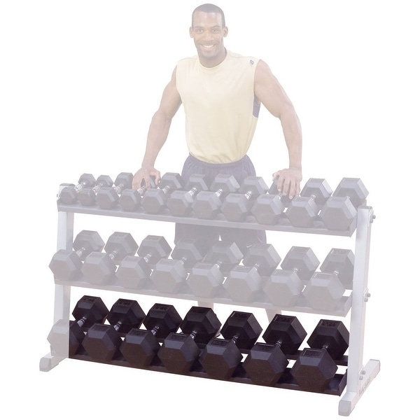 "Body-Solid 60"" Third Tier Option for 2-Tier Dumbell Rack - Black"