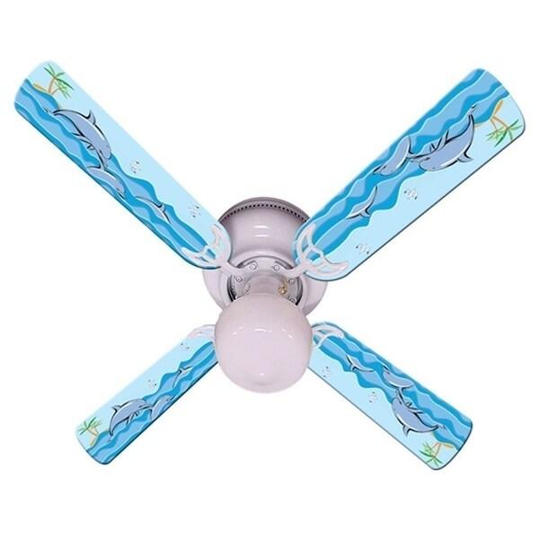 Dolphin in the Sea Print Blades 42in Ceiling Fan Light Kit - Multi