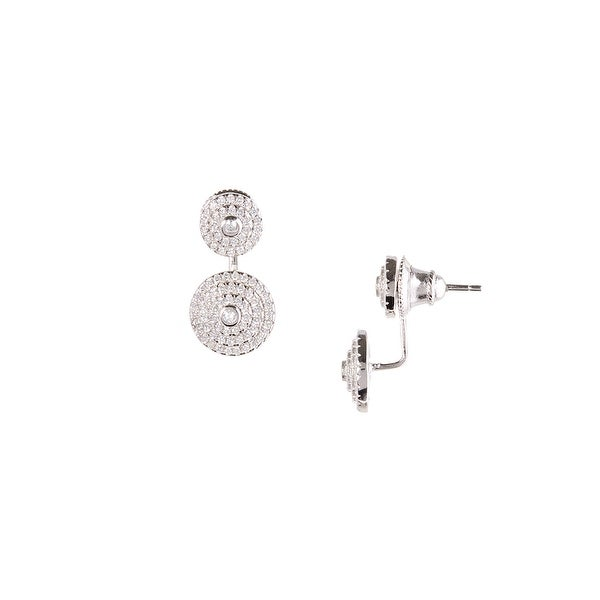 925 Sterling Silver Halo Ear Jacket with Cubic Zirconia