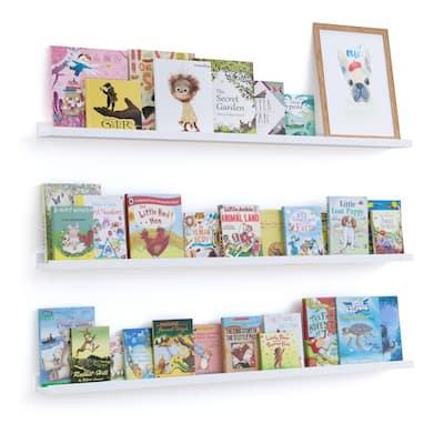 """Wallniture Denver 46"""" Floating Shelves for Kids Room Decor, White Bookshelf (Set of 3)"""