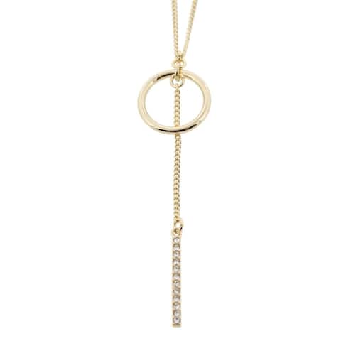 BCBGeneration Womens Chain Necklace Crystal Drop Bar - Gold - O/S