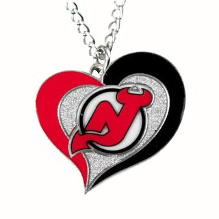 NHL New Jersey Devils Swirl Heart Necklace